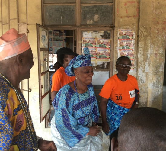 Iya and Baba Oja of Agbalata Market, Badagry welcoming welcoming the WOCON Team back from the Market-Motor Park Outreach
